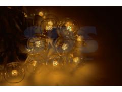 LED Galaxy Bulb String 10м, черный КАУЧУК, 30 ламп*6 LED ЖЕЛТЫЕ, влагостойкая IP54