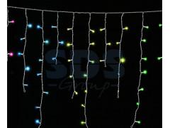 Гирлянда Айсикл (бахрома) светодиодный, 1, 8 х 0, 5 м, прозрачный провод, 220 В, диоды МУЛЬТИКОЛОР