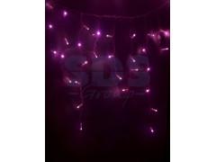 Гирлянда Айсикл (бахрома) светодиодный, 2, 4 х 0, 6 м, белый провод, 220В, диоды розовые, NEON-NIGHT
