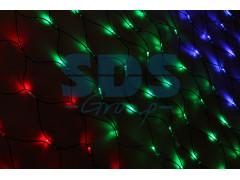 Гирлянда - сеть 2x1, 5м, черный КАУЧУК, 288 LED Мультиколор