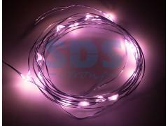 """Гирлянда """"Роса"""", 2 м, 20 диодов, цвет розовый"""