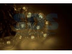 Гирлянда LED Galaxy Bulb String 10м, белый КАУЧУК, 30 ламп*6 LED ТЕПЛО-БЕЛЫЕ, влагостойкая IP54