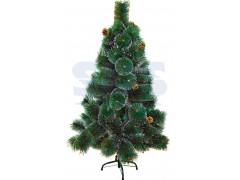 Новогодняя ель 120 см с 10 шишками и снегом, 90 веток, цвет зеленый