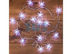 Гирлянда светодиодная Снежинки 20 LED БЕЛЫЕ 2,8 метра