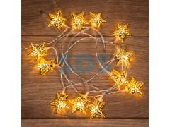 Гирлянда светодиодная на солнечной батарее Звезды 12 LED ТЕПЛЫЙ БЕЛЫЙ 1,2 метра