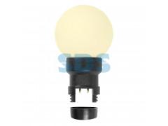 Лампа шар 6 LED вместе с патроном для белт-лайта, цвет: ТЕПЛЫЙ БЕЛЫЙ, 45мм, белая матовая колба
