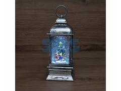 Декоративный фонарь с эффектом снегопада и подсветкой «Рождество», белый