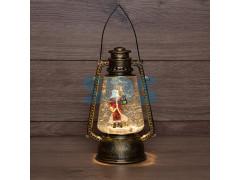 Декоративный фонарь с эффектом снегопада и подсветкой «Санта Клаус», теплый белый